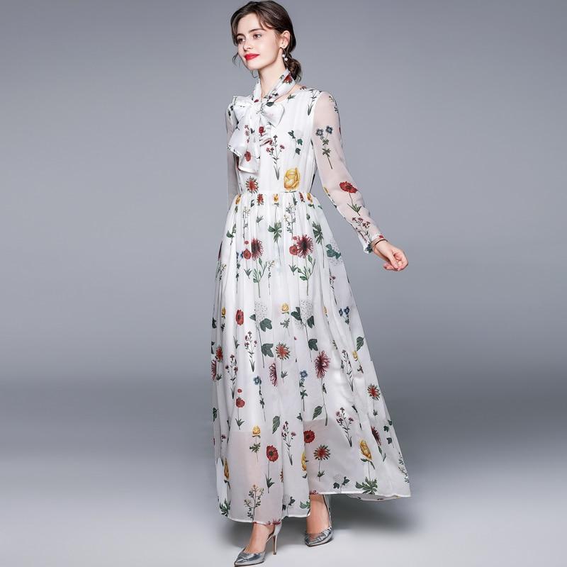 ZUOMAN Women Spring Elegant Floral Dress Festa High Quality Long Maxi White Party Robe Femme Vintage