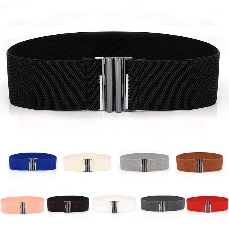 Wide Elastic Belt Solid Color Corset Belt Metal Buckle Lady Fashion Cummerbands Stretch Cinch Waistb