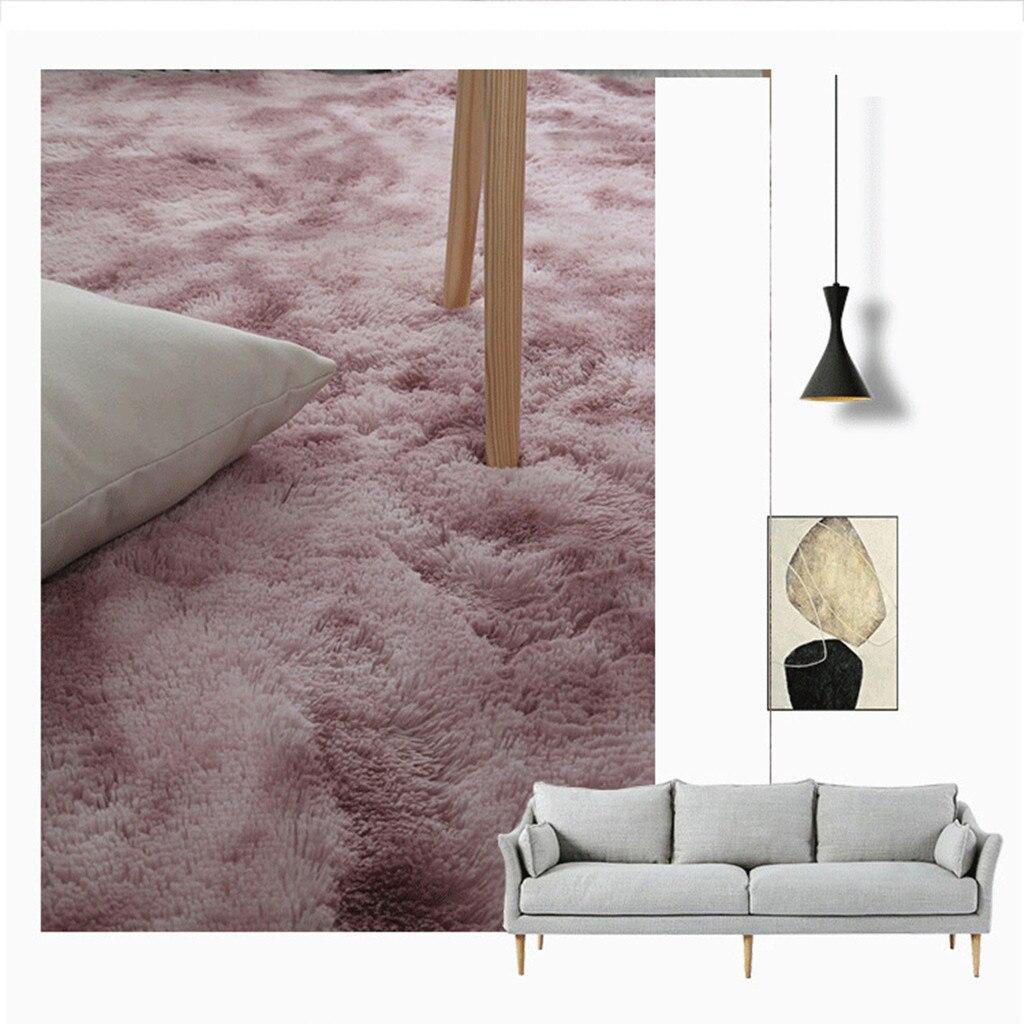 Alfombras de felpa de estilo nórdico, alfombra suave y esponjoso para sala de estar, alfombra peluda para decoración del hogar, alfombra para dormitorio, sofá, alfombra de suelo de color rosa claro, 7 colores # G7