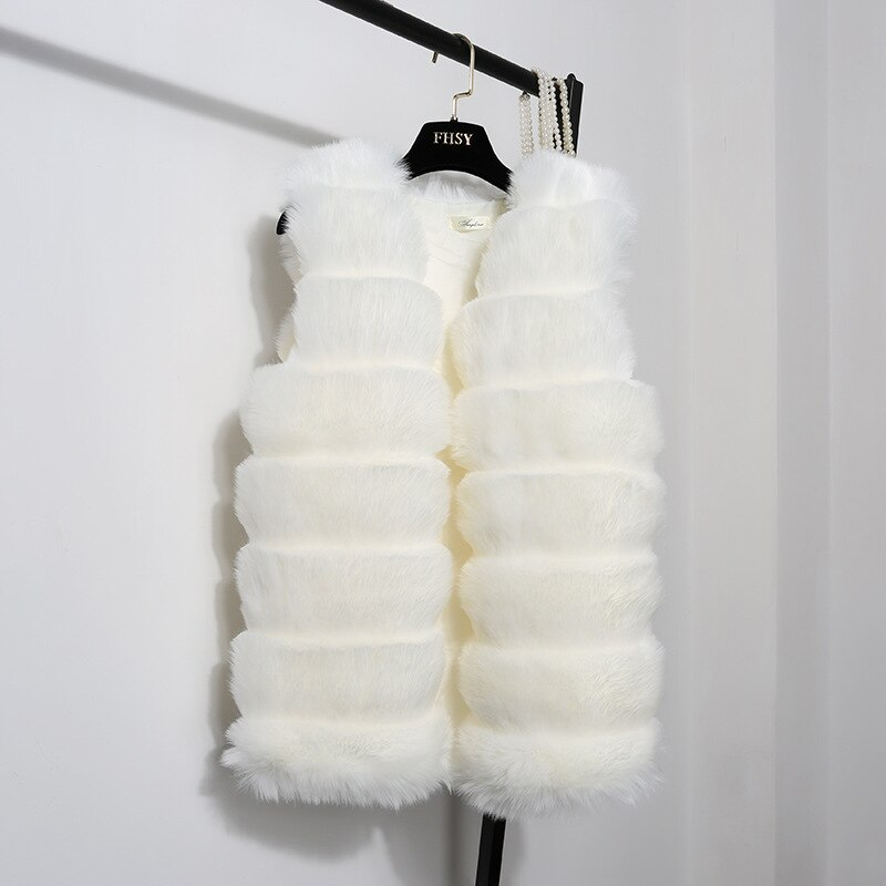 New Winter Faux Fur Coat Vest Women Female Outerwear Fox Faux Leather Coat Thickening Vest Women Grils