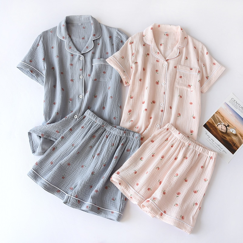 AliExpress - 2021 Summer Ladies Short-sleeved Shorts Pajamas Set 100% Cotton Crepe Cloth Thin Home Service Two-piece Spring And Autumn Loose