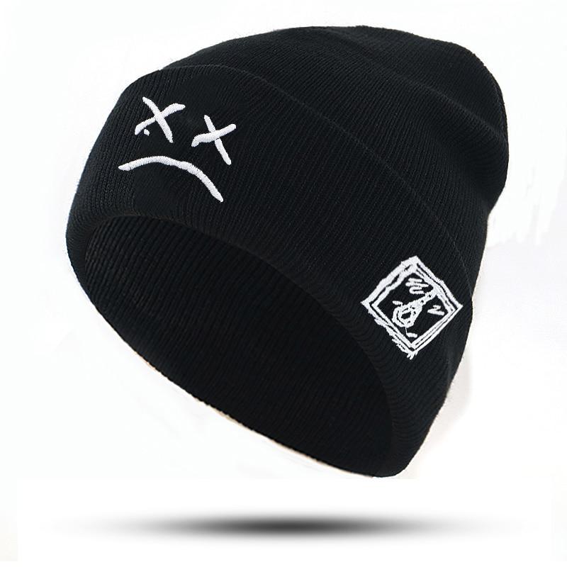 embroidery Lil Peep beanie cap xxxtentacion Sad boy face knitted hat for winter hip hop beanies fashion ski hats unisex