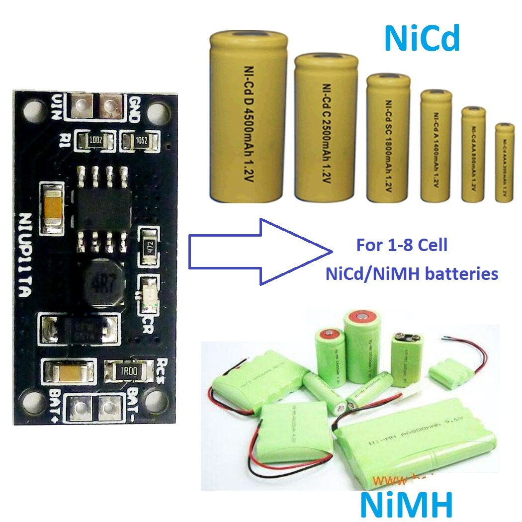 1-8s 1,2 V-9,6 V NiMH NiCd зарядное устройство модуль зарядки плата вход DC 5V