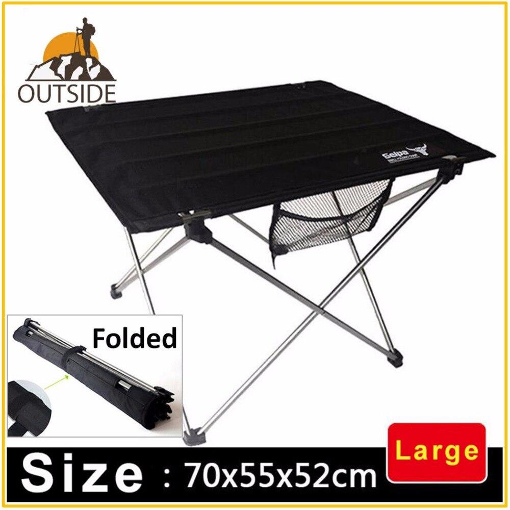 Mesa plegable de gran tamaño para exteriores, utensilio de aleación de aluminio de 75x55x52cm para acampar, mesa de escritorio enrolladas durables y ligeras
