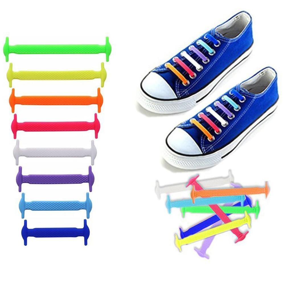 16 шт./лот, силиконовые шнурки, эластичные шнурки для обуви, специальные шнурки для мужчин и женщин, шнурки, резиновые, 13 цветов