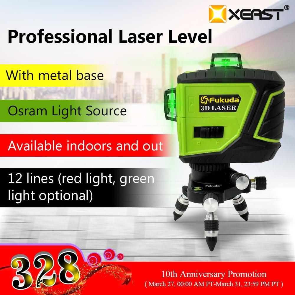 Marca Fukuda 12 líneas 3D MW-93T-3G nivel láser autonivelante 360 Cruz Horizontal y vertical Super potente rayo láser verde
