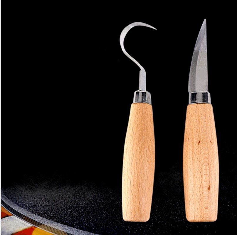 [sword] beech handle curved knife straight knife single stainless steel carving knife can be OEM wood carving knife недорого