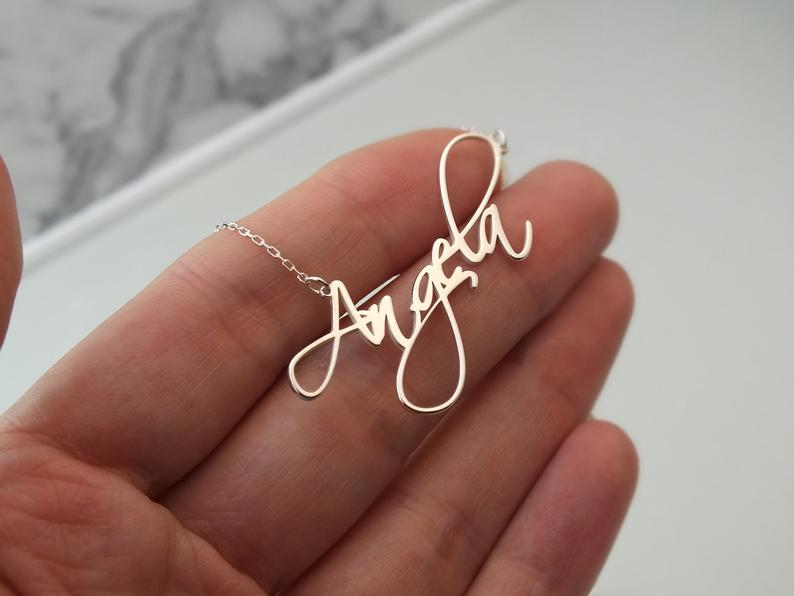 Курсивное имя ожерелье, персонализированные Имя ювелирные изделия, персонализированные имя ожерелье, золото имя ожерелье, пользовательско...