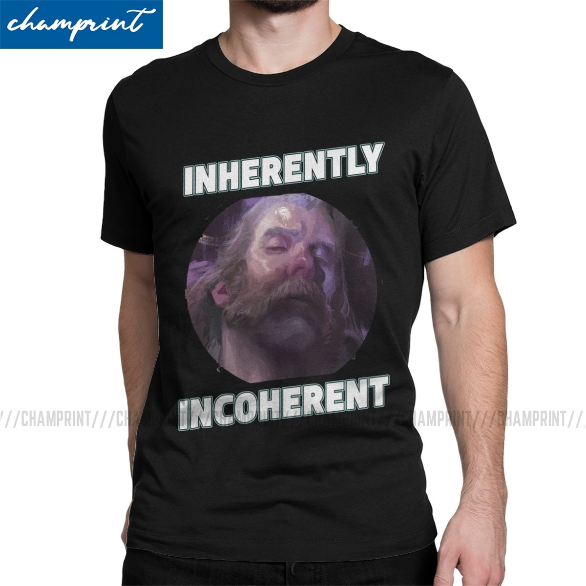 Totally Coherent Men T Shirts Disco Elysium RPG Game Unique Tee Shirt Short Sleeve Crew Neck T-Shirt Cotton Printing Clothes