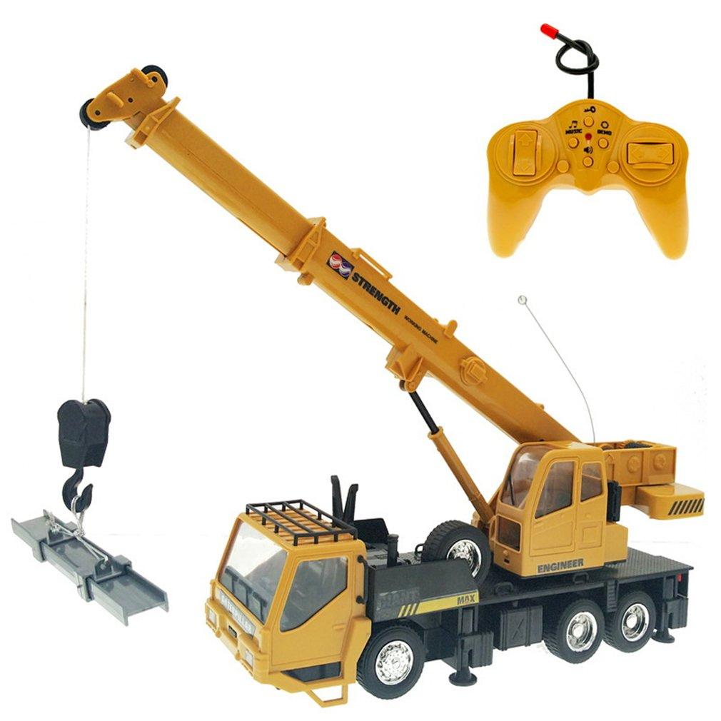 Kids 1:24 Remote Control Truck Crane Toys Rechargeable RC Lift Simulation Engineering Crane Children
