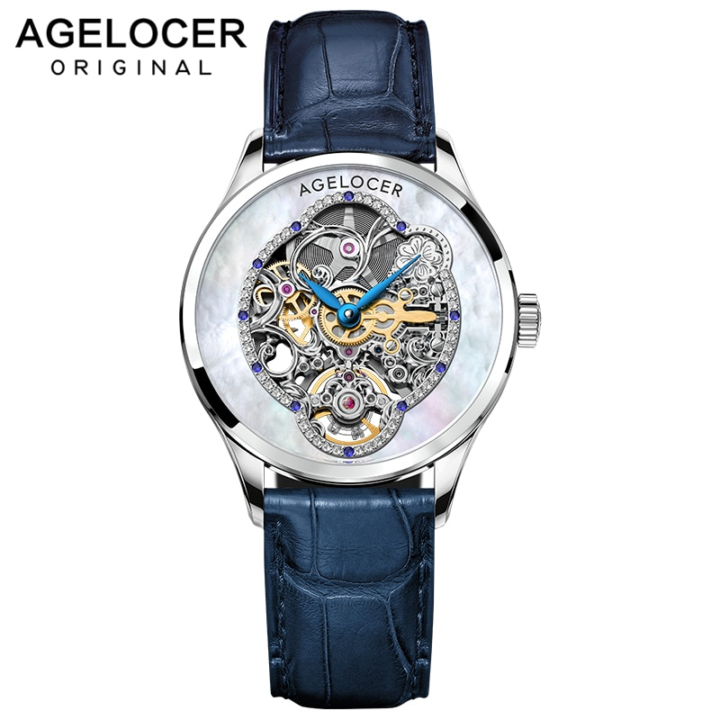 AGELOCER New Design Women Watches Luxury Skeleton Crystals Power Reserve 80H Blue Leather Automatic Mechanical Watch For Woman