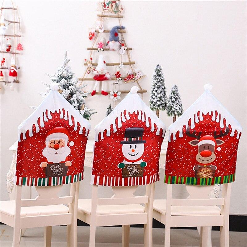 Boże narodzenie dekoracji pokrowce na krzesła jadalnia święty mikołaj dekoracje domowe na przyjęcie Cartoon stary człowiek Snowman Party stołek zestaw wystrój @ C