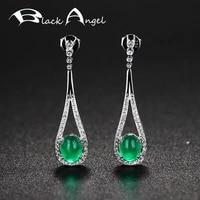 black angel luxury green chalcedony drop earrings for women real 925 sterling silver fashion cz long earring fine jewelry gift
