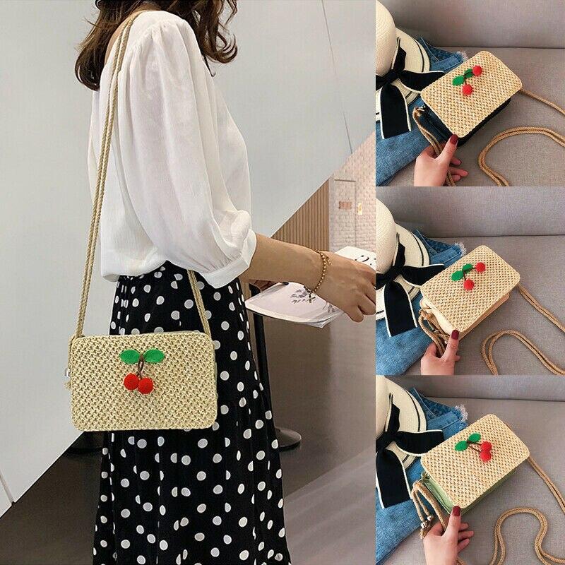 UK Women Crossbody Shoulder Bag Woven Rattan Straw Satchel Handbag Mini Bag