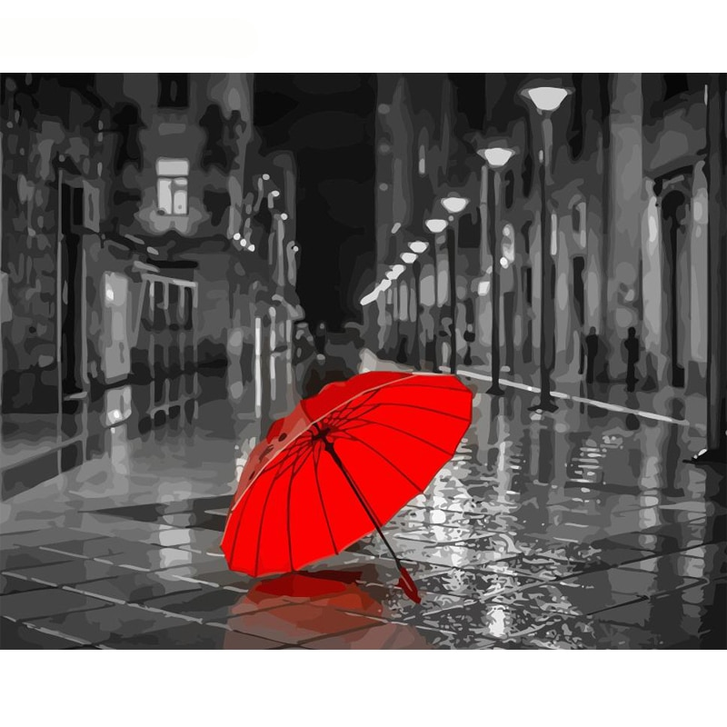 GATYZTORY, paraguas rojo sin marco, pintura DIY por números, arte de pared moderno, pintura por números para adultos, pintada a mano para decoración del hogar