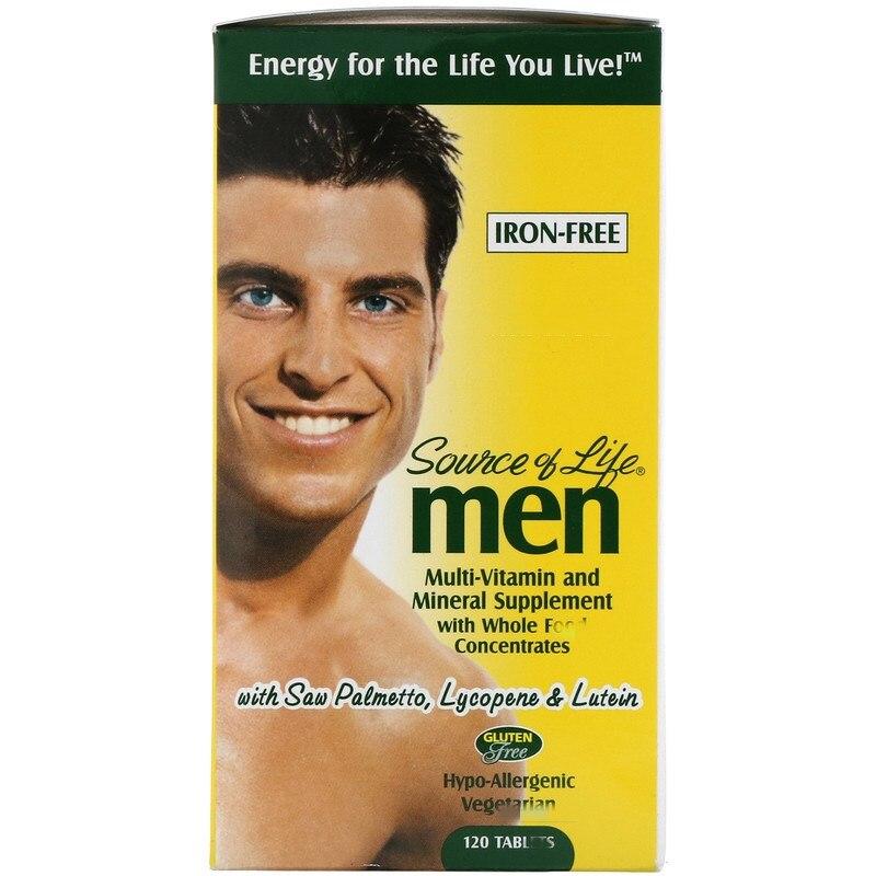 Compuesto totalmente concentrado de vitamina y minerales para hombre, libre de hierro, 120 piezas