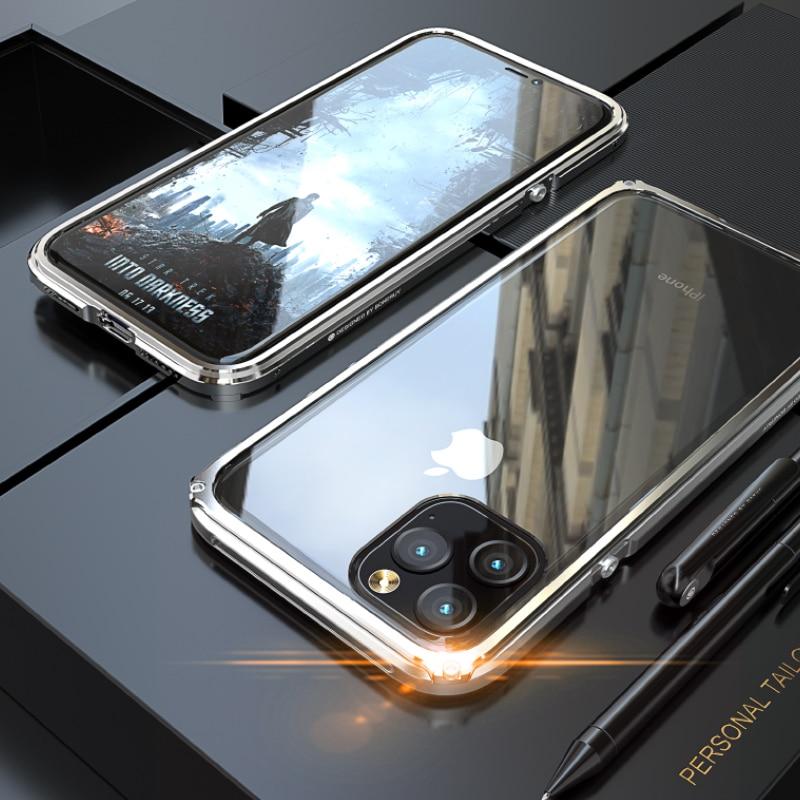 Funda de Metal de aluminio híbrida 2 en 1 para iPhone 11 Pro Max a prueba de golpes de vidrio templado para iPhone 11 Pro X XR XS Max Coque