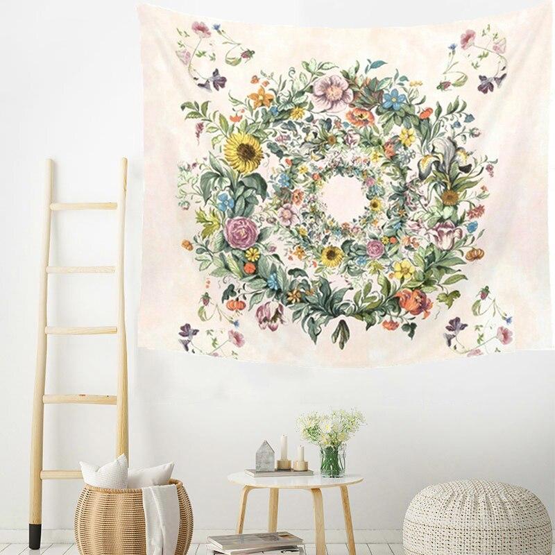 С цветочным принтом, мандалой подвесные настенные гобелены, подвесной богемный художественный Настенный Ковер, цветочный круг, хиппи, псих...