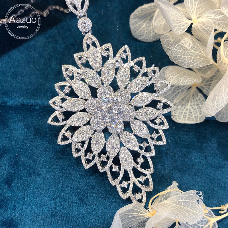 Aazuo 18K White Gold Real Diamonds 2.80ct Super luxury  necklace without chain gifted for Women Wedding  Au750