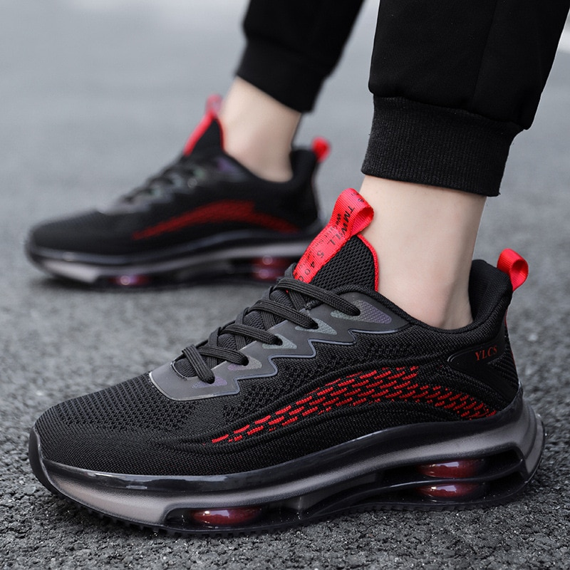 The New Reflective Breathable Comfortable Men Women Running Shoes Fashion Sneakers Red