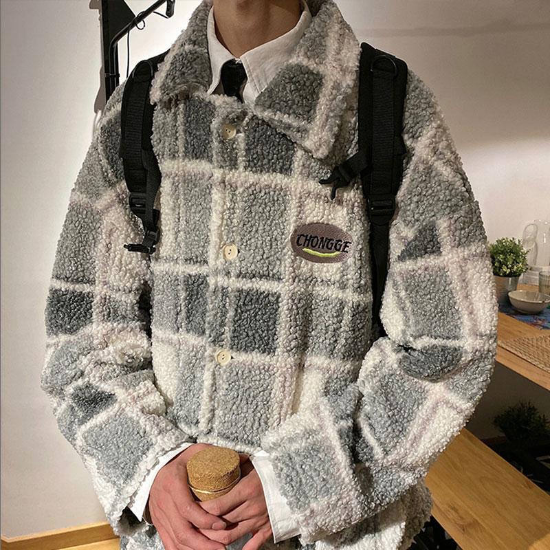 2020 Mens Winter Padded Coat Plaid Parka Hip Hop Jacket for Men Fleece Flocking Warm Outwear Windbreaker Streetwear Harajuku