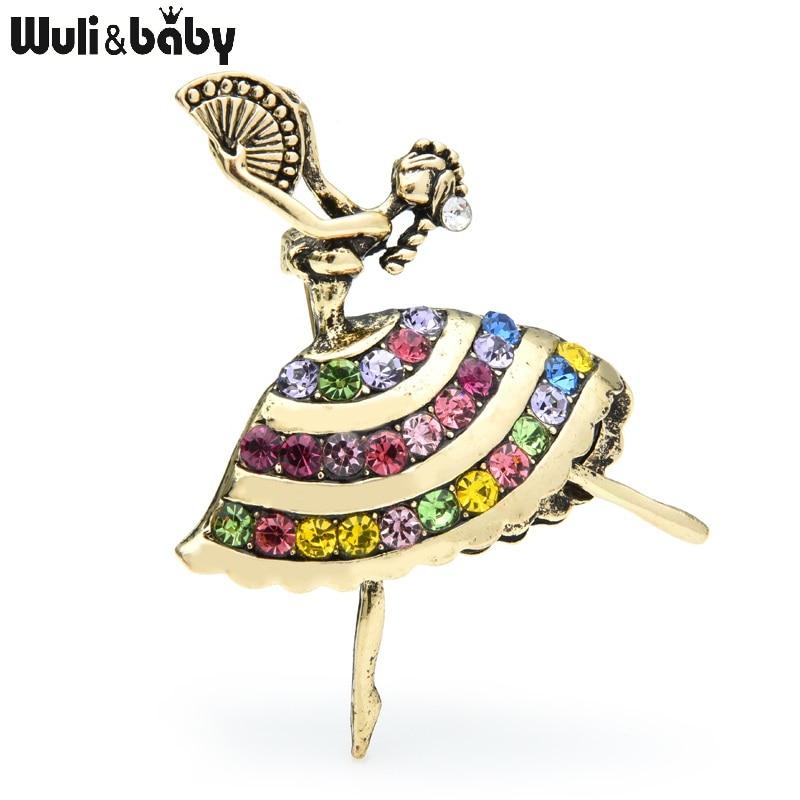 Wuli & baby, broches de niña Vintage con diamantes de imitación para baile, broche de aleación para fiestas deportivas nacionales, broches para regalo