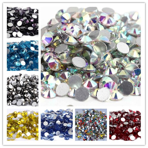 1440 pcs /pack SS4 (1.5-1.7mm) crystal Multicolor Non Hotfix 3D Nail Art stones Flat back Rhinestones glass nail art decorations