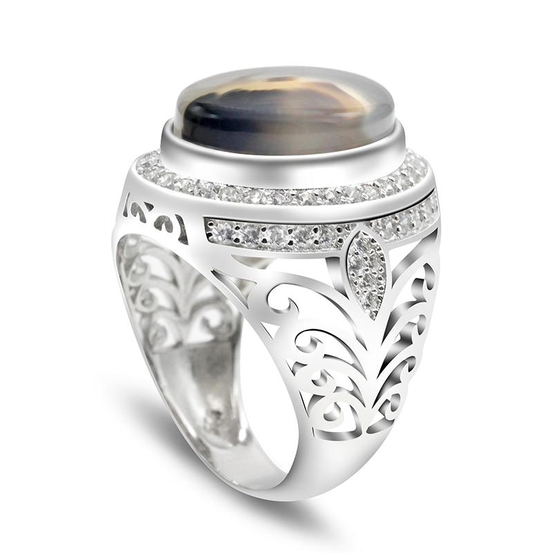 البيضاوي حجر العقيق الطبيعي 925 فضة الرجال خاتم الجوف تصميم موضة شعبية الرجال الأحجار الكريمة والمجوهرات خاتم هدية