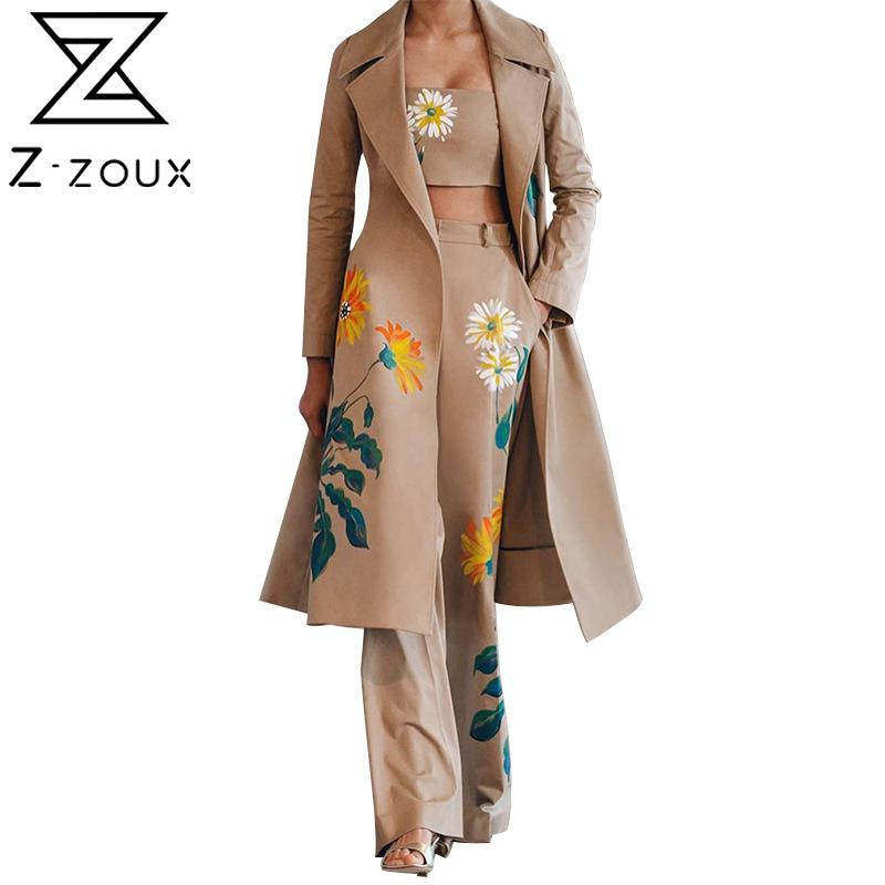 Z-ZOUX Women Set Printed Women Trench Coat With Crop Tank And Flower Print Long Pants 3 Piece Sets Fashion Women Sets Clothes