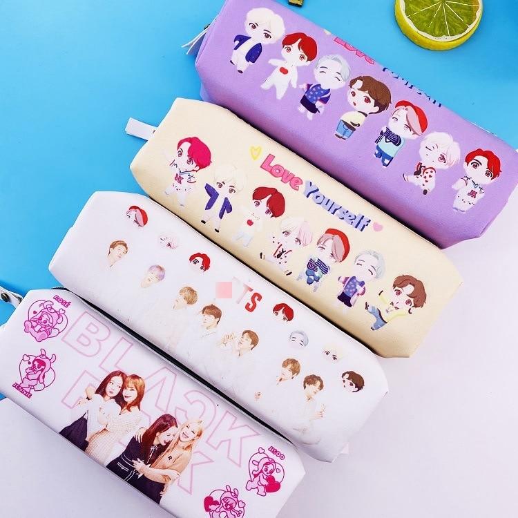 10 bolsas/lote Kpop jimin suga rm jungkook v jin jhope Ti mismo blackpink figura de dibujos animados lápiz bolsa de lápiz con almacenamiento de juguete para regalo