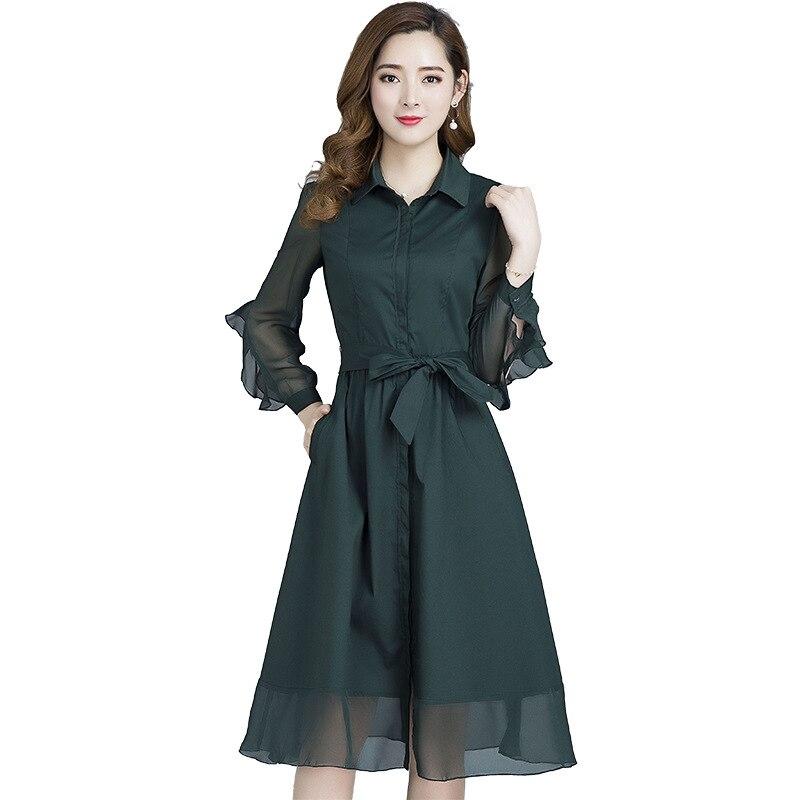 2020 primavera outono novas mulheres de vestido coreano de slim plus size vestidos