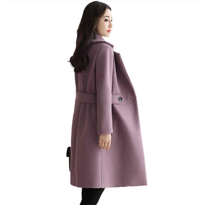 معطف صوف كشمير سميك للنساء ، مزيج أنيق ، مقاس كبير ، شتاء ، خريف