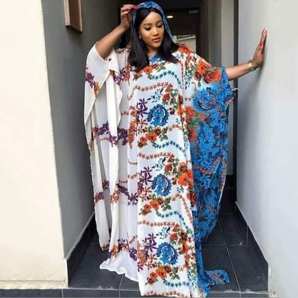 Md vestidos tamanhos grandes para as mulheres 2020 novo africano impressão dashiki chiffon bubu com capuz maxi vestido kanga muçulmano hijab abaya 179 #