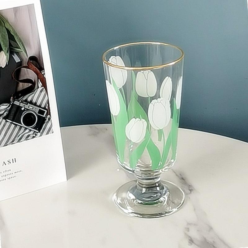 4 estilos Japón estilo coreano flor blanca tulipán copa de vino flor roja boca dorada Whisky postre Copa Ins juego de beber de moda