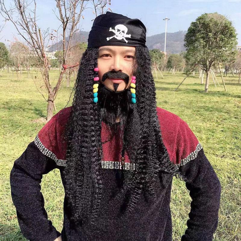 Halloween negro pirata barba peluca carnaval fiesta trenza barba + máscara de ojos + peluca + sombrero pirata estilo Accesorios