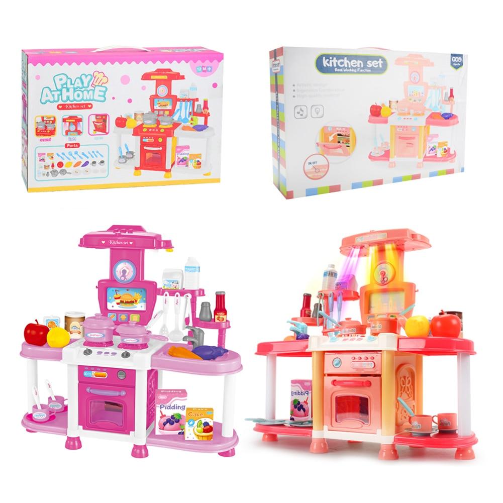 Детский игровой домик кухонный набор игрушек звук светильник звуковые эффекты для приготовления риса посуда для приготовления пищи От 3 до ...