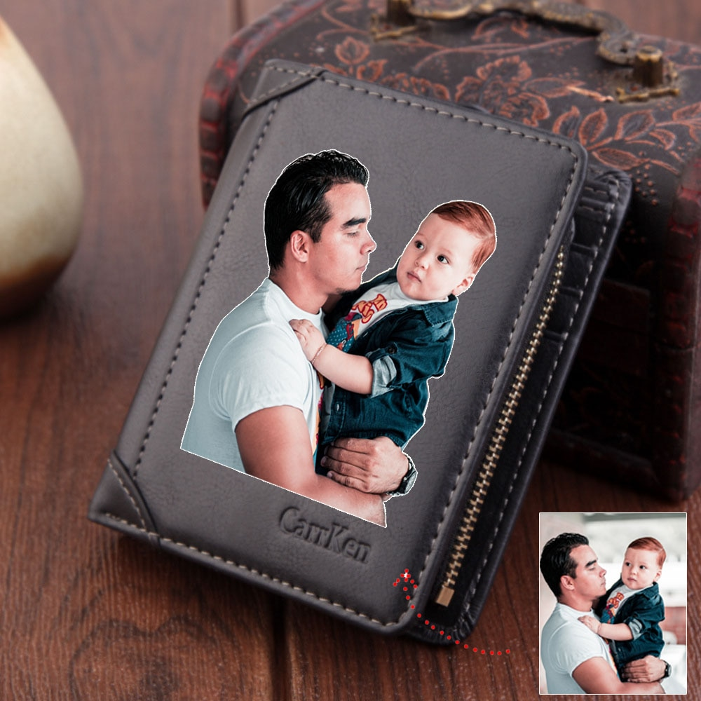 Custom Photo Men Wallet High Quality PU Leather Short Wallets Male Purse Coin Pocket Card Holder Per