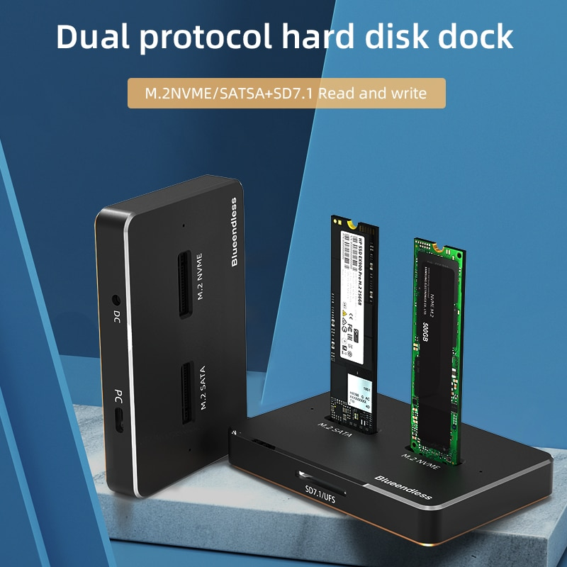 Blueendless EU/US Plug Dual Bay Dual Protocol SSD M2 NVME Case SSD Hard Drive 2Tb SATA Hard Drive Docking Station External SSD enlarge