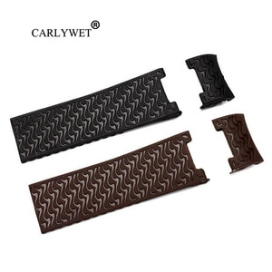 CARLYWET 22mm Wholesale Black Brown Waterproof Silicone Rubber Replacement Wrist Watch Band Strap Belt For Ulysse Nardin