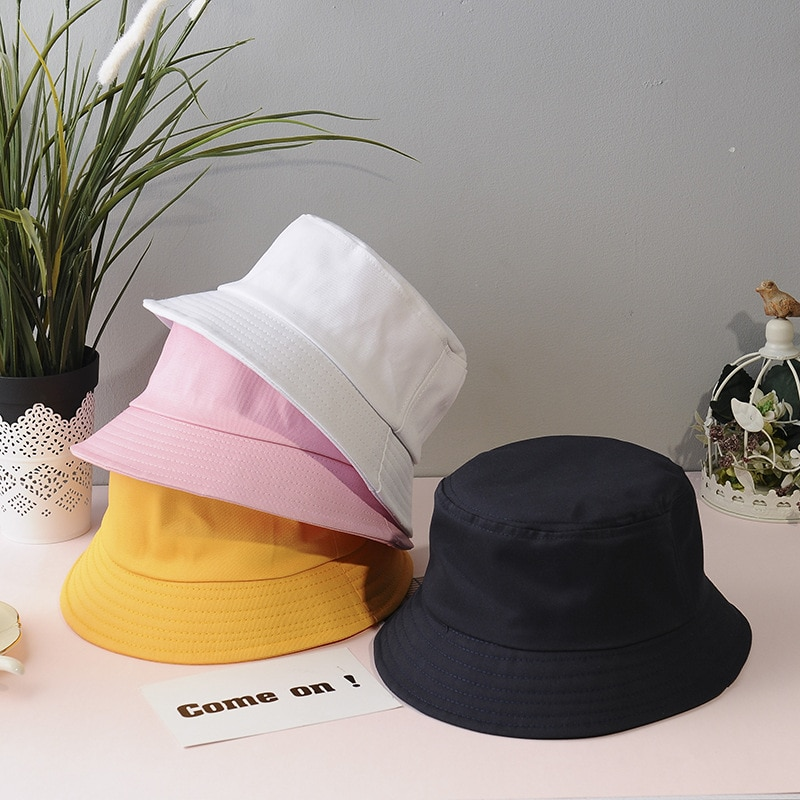Sombrero de cubo plegable sólido de verano para mujer, protección solar al aire libre, gorro de algodón para pesca, gorro de caza, sombrero para hombres, sombrero para el sol, sombreros Unisex