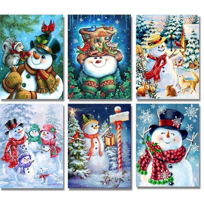 5d diy diamante bordado boneco de neve broca redonda cheia strass kits ponto cruz artesanal diamante bordado artesanato presente natal