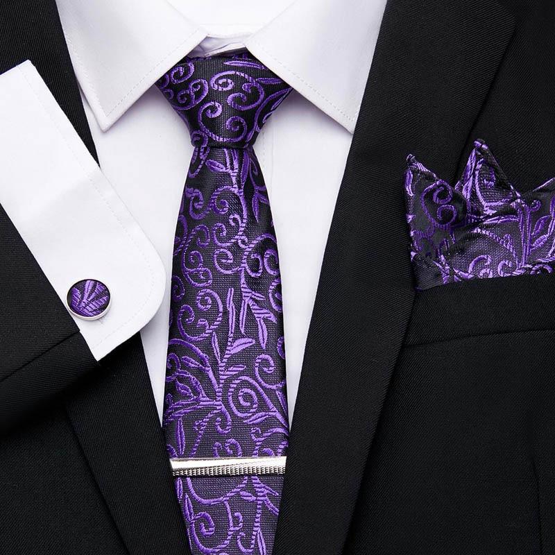 Wedding Men ties Set Extra Long Size 145cm*7.5cm Necktie Purple Paisley 100% Silk Jacquard Woven Neck Tie Suit Wedding Party tie недорого