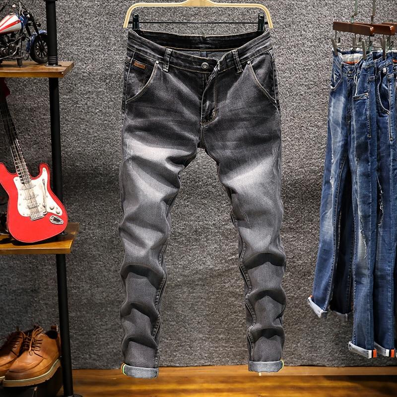 Джинсы мужские узкие на молнии, облегающие джоггеры из денима, Стрейчевые брюки-карандаш, синие модные повседневные джинсы