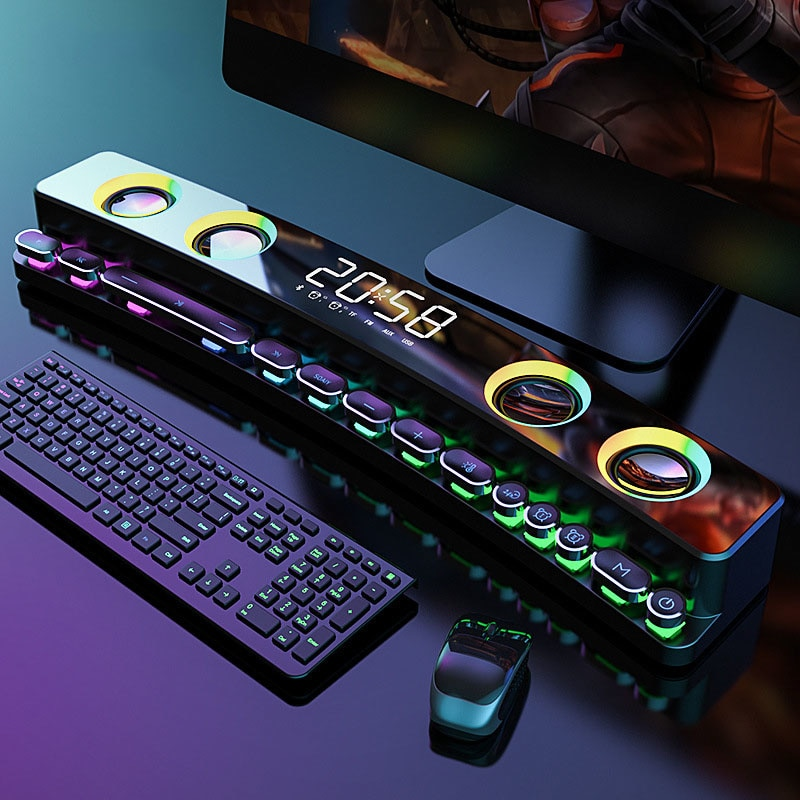 Altavoz LED con Bluetooth, barra De sonido estéreo 3D con USB, Subwoofer,...
