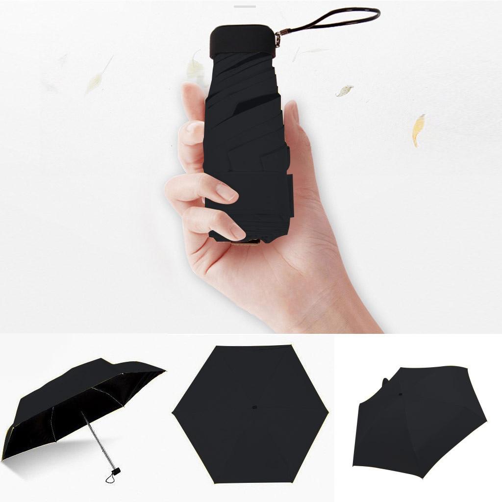 Mini sombrilla plegable de bolsillo portátil para mujer, paraguas ligero y plano, 5 paraguas plegables para el sol, sombrilla de viaje, paraguas parasol