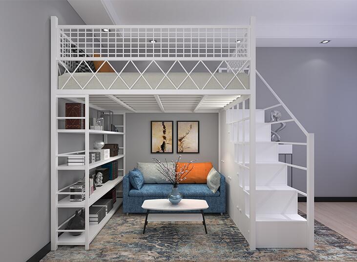 Cama superior pequeña y doble para apartamento, ático de hierro funcional, ahorro...