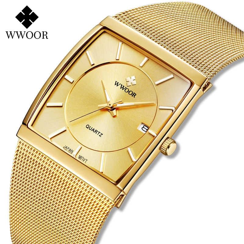 WWOOR Men Ultra Thin Gold Watch Top Luxury Business Clock Man Steel Mesh Band Waterproof Quartz Wristwatch Men Gift reloj hombre