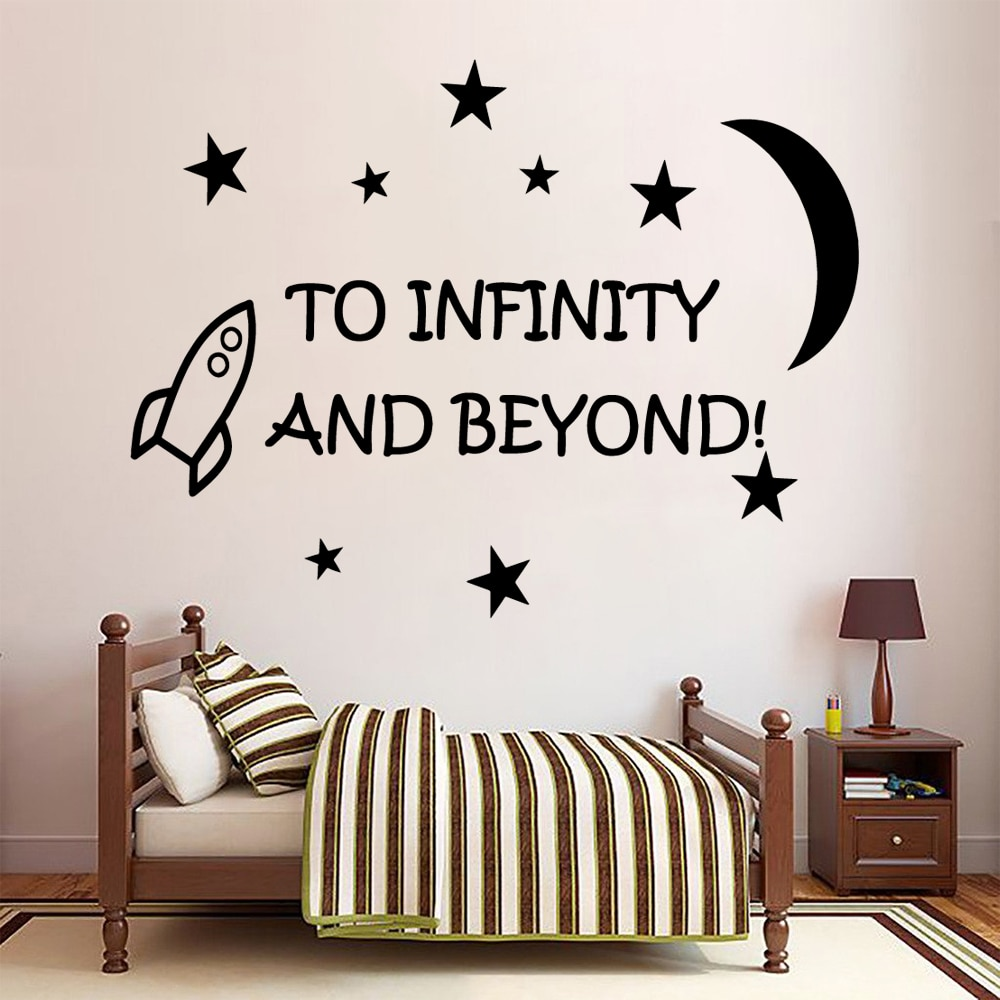 Décoration pour chambre à coucher et babys   À infinity et au-delà des citations étoiles de lune, décor pour chambre à coucher et salon, stickers muraux amovibles