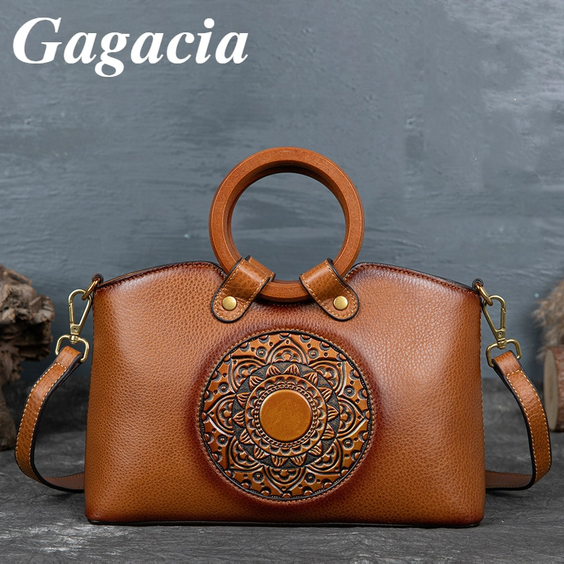 Gagacia Women's Handbags Genuine Leather Retro Luxury Handbag For Women Bags 2021 New Chinese Style Shoulder Crossbody Bag Tote