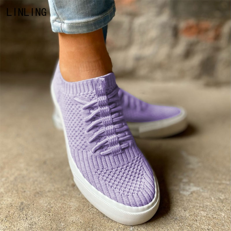 2021 Women knit Lace Up Shoes Women's Casual Shallow Flat Female Comfort Breathable Flats Ladies Pla